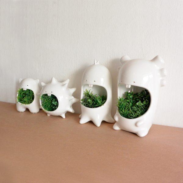 juego comelones casa de ceramica marca tuio diseño mexicano plantas macetas originales