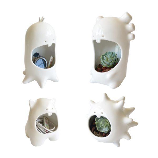 juego comelones casa de ceramica marca tuio diseño mexicano macetas originales