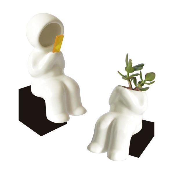 maceta hood cuerpo sentado de ceramica marca tuio diseño mexicano decoracion