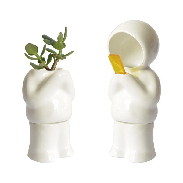 juego lampara y maceta hood parado de ceramica marca tuio diseño mexicano