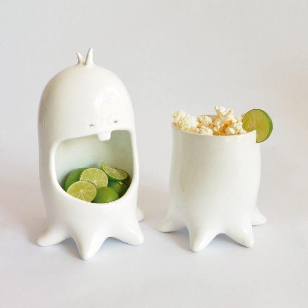 juego maceta y contenedor comelon pulpo de ceramica marca tuio diseño mexicano decoracion