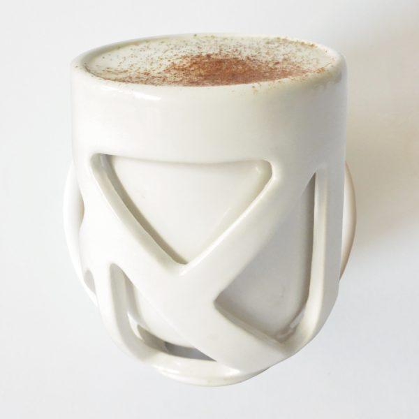 taza caparazon de ceramica marca tuio diseño mexicano cafe doble fondo