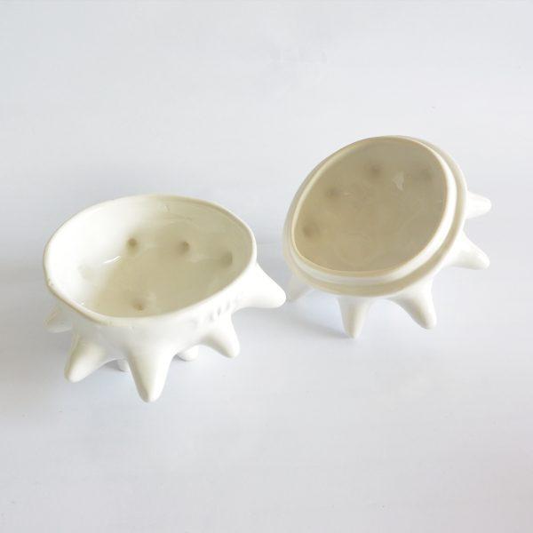 tazon erizo con tapa de ceramica marca tuio diseño mexicano original