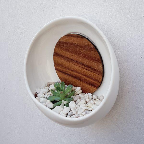 maceta de pared luna llena 22 de ceramica con madera para pared marca tuio diseño mexicano organizador pared